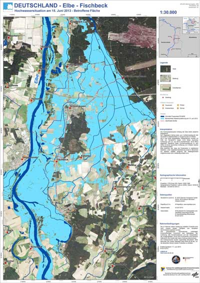 Example of a flood extent map of the River Elbe, Germany 2013